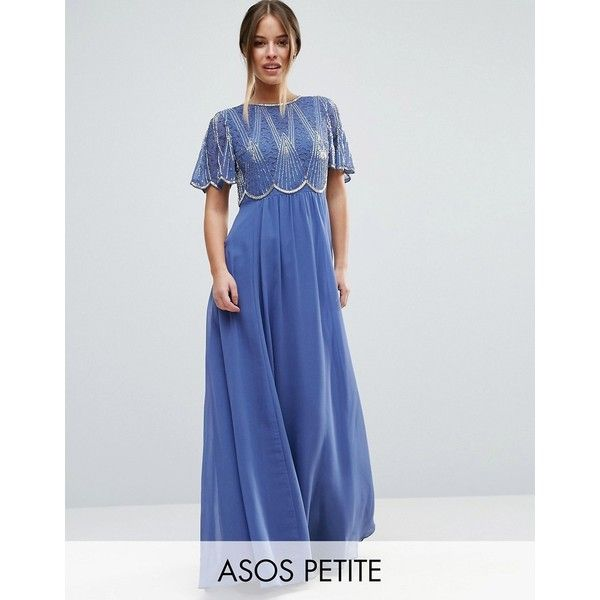 ASOS PETITE Embellished Bodice Maxi Dress with Scallop Sleeve (7.605 RUB) ❤ liked on Polyvore featuring dresses, blue, petite, sleeved dresses, sleeved maxi dress, high neck maxi dress, blue high neck dress and zipper dress