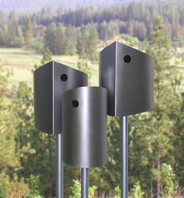3 metal birdhouses, cute but here in the south they would be like a solar oven.