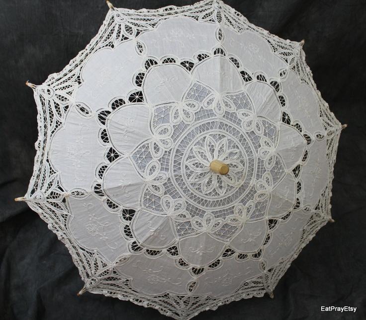 Vintage Wedding Lace Parasol Lace Umbrella Vintage Umbrella Photo Prop. $49.00, via Etsy.