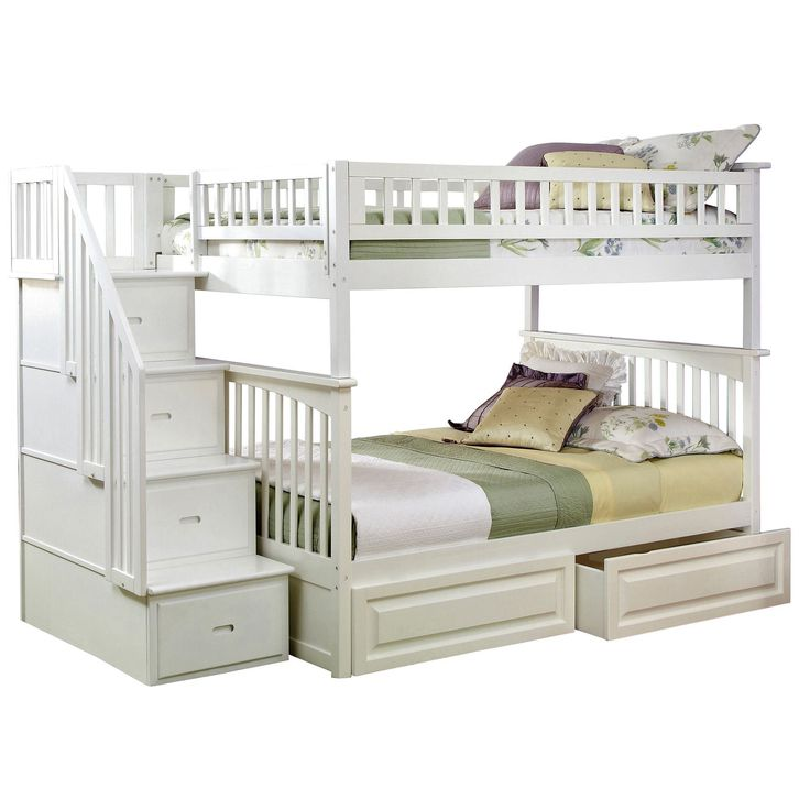 Atlantic Columbia Staircase Bunk Bed Full over Full with Raised Panel Bed Drawers in White (Color)