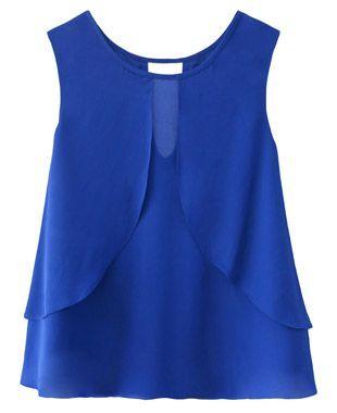 Blusa Azul Crepe Chiffon Chifon Regata Detalhes
