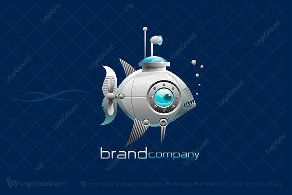 Logo for sale: Fish Submarine Logo