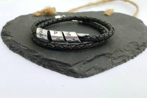 Custom Mens Leather Bracelet Personalised Mens Secret Message