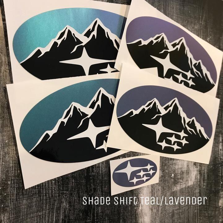Mountain Design Two Color With Subaru Stars Subaru Emblem Overlay Decal Set Car Decals Vinyl Mountain Decal Subaru