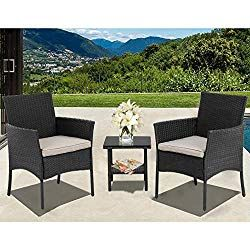 Fdw Patio Furniture Sets 3 Pieces Outdoor Bistro Set Rattan Chairs