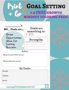 Are you ready for your students to set some goals? Grab this print + go Goal Setting Worksheet. Students are prompted to think about: *Their strengths *What went right in the previous year *Personal Goal *Academic Goal *Service Goal (how can they help others) PLUS - Get a FREE growth mindset coloring page!
