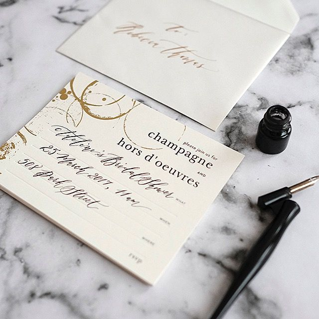 CHAMPAGNE & HORS D' OEUVRES INVITATIONS pack of 8 with matching lines envelopes. Semi DIY. Fill-In-Yourself Invitations.