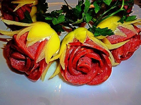 HOW BEAUTIFUL CUT TOMATOES, PEPPER AND SAUSAGE! DECORATION OF VEGETABLES! - YouTube