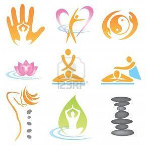 Conjunto de iconos de masaje, cura bienestar y spa. Ilustración vectorial. Foto de archivo - 10828167