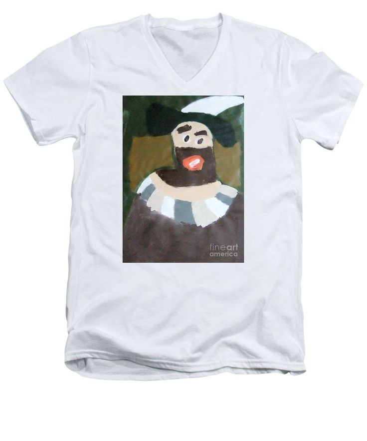Patrick Francis V-Neck T-Shirt featuring the painting Rembrandt 2014 - After Rembrandt Self-portrait by Patrick Francis