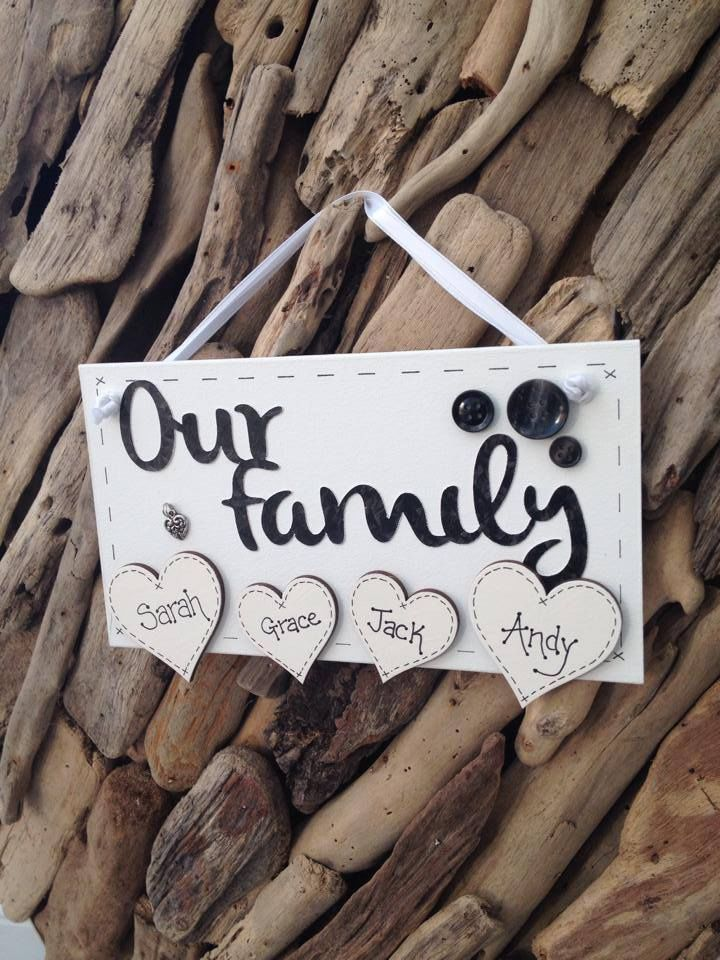 Our Family Handmade Personalised Hearts Paws Cats Dogs Plaque Sign