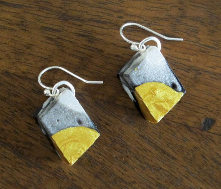 Gold Resin Jewelry - Resin Earrings Handmade - Abstract Design - Gold Black and White - Jurassic Jewellery by JurassicJewelleryAus on Etsy
