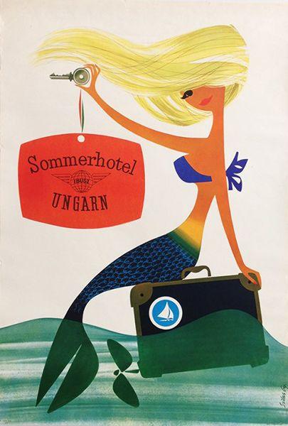 Szilas - Summer at Hotel Balaton vintage travel poster / Hotel Balaton 1965 Artist: Szilas Győző