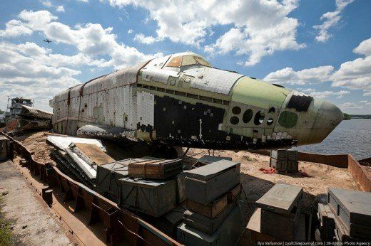 The following pictures show the remains of the space shuttle Buran 2