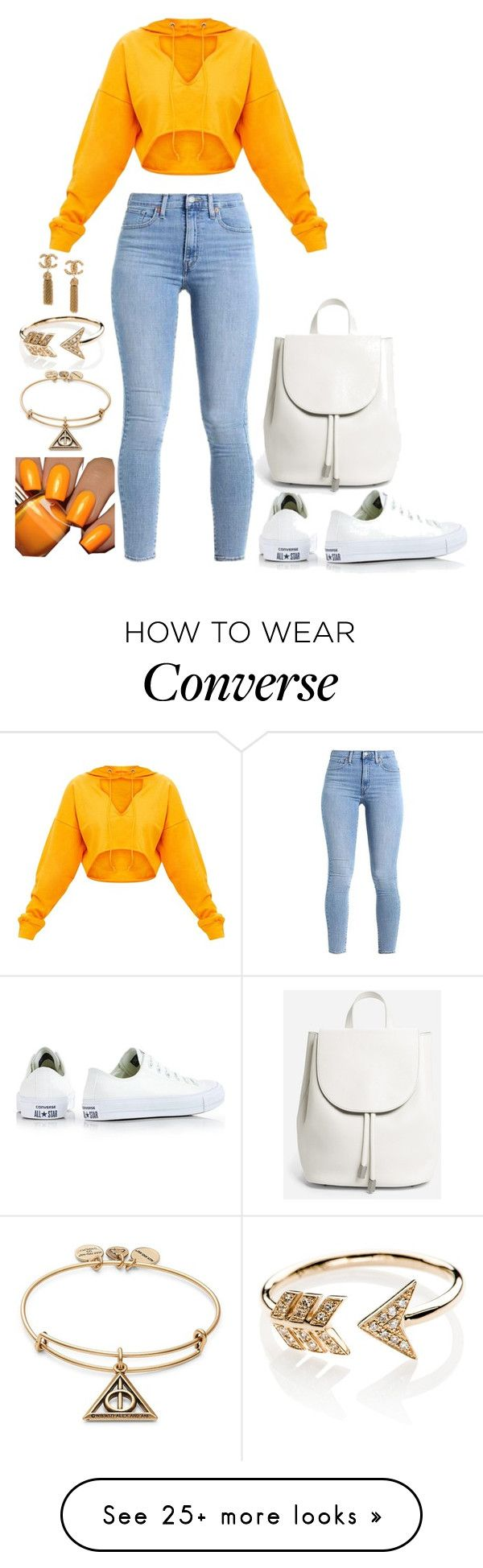 """Untitled #2185"" by social-outcast-16 on Polyvore featuring Converse, Everlane, EF Collection, Floss Gloss and Alex and Ani"