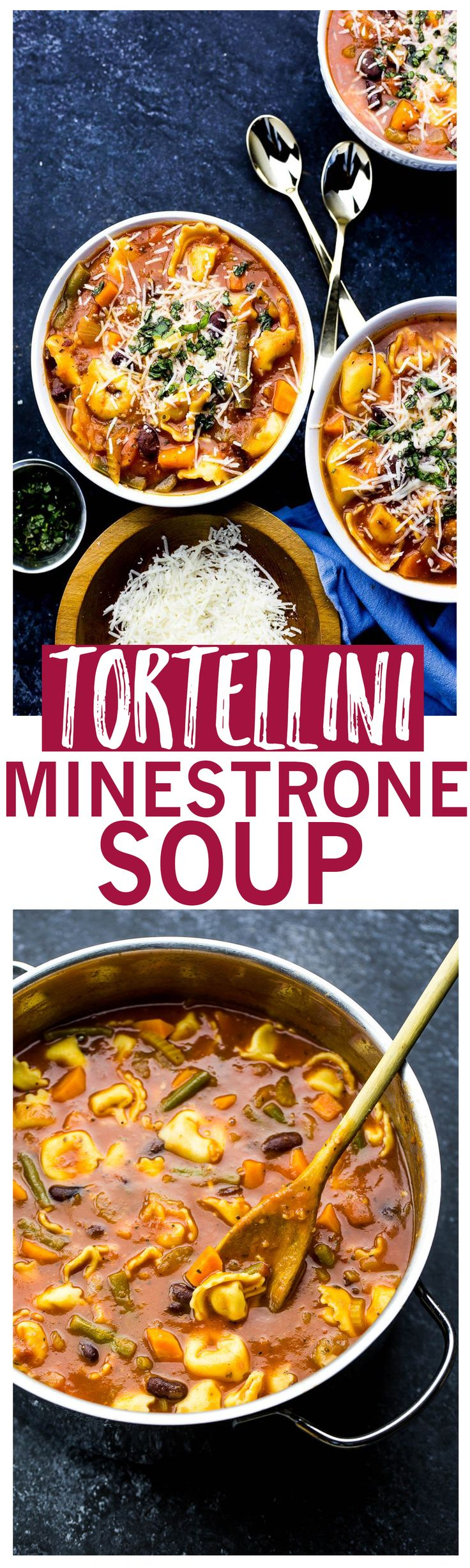 30-Minute Tortellini Minestrone Soup is a filling, high-fibe vegetarian dinner that comes together quickly for those busy weeknights!