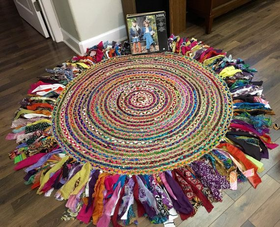 Boho 6 feet Round Braided Rug One of a Kind by IslandChickDesigns