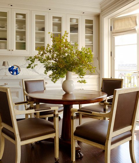 Countertop Dining Room Sets: Gorgeous City Dining Room With French Doors, Ivory Glass