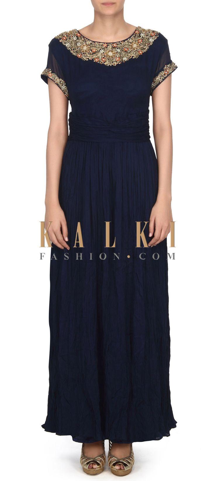 Buy this Navy blue dress with zardosi embroidered neckline only on Kalki