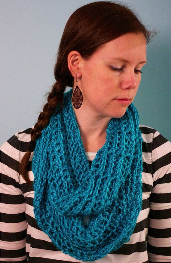 Turquoise infinity scarf in waffle weave crochet by sophiezhappy, $25.00