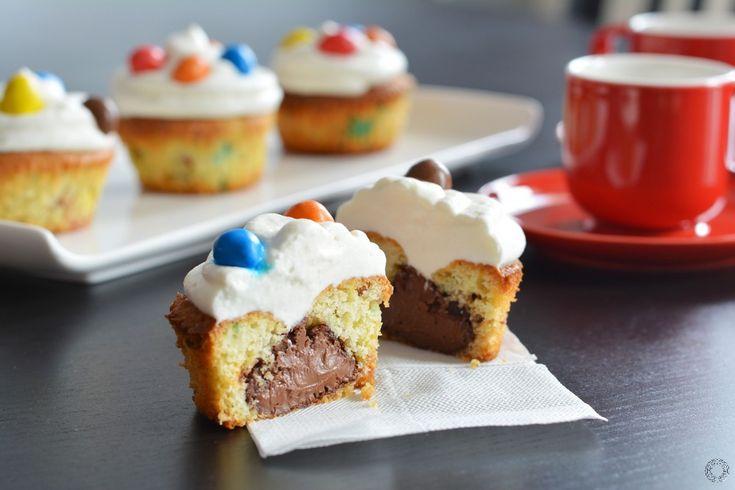 Cupcakes aux m&m's cœur Nutella, glaçage chantilly
