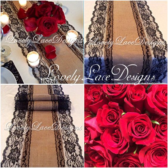 Burlap Lace Table Runner/Black Lace 3ft-10ft by LovelyLaceDesigns