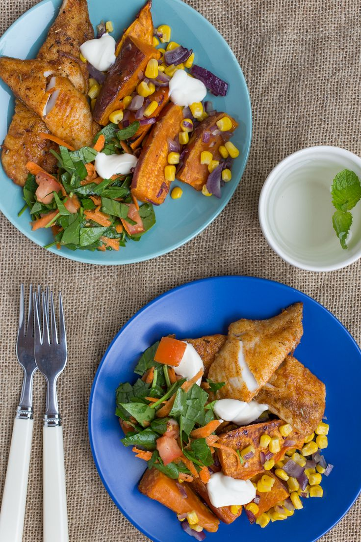 Mexican Spiced Fish with Kumara Wedges and Spinach Tomato Salad