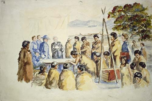Signing the Treaty of Waitangi 1840