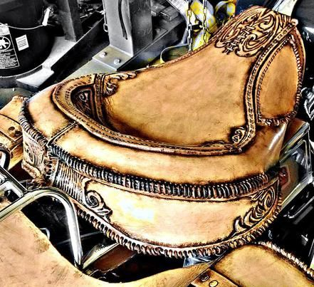 Hand tooled leather , custom hand made , solo seat , motorcycle seat. Original design and art by Misfit Skinny Kustoms. Bobber seat, Harley seat