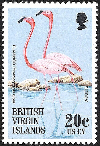 Flamingo stamp from the British Virgin Islands.