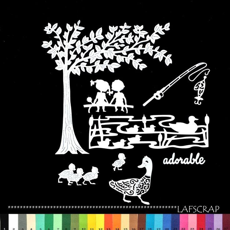 découpes scrapbooking arbre enfant garçon fille canard adorable poisson mot printemps roseau nature pêche hameçon : Embellissements par lafscrap