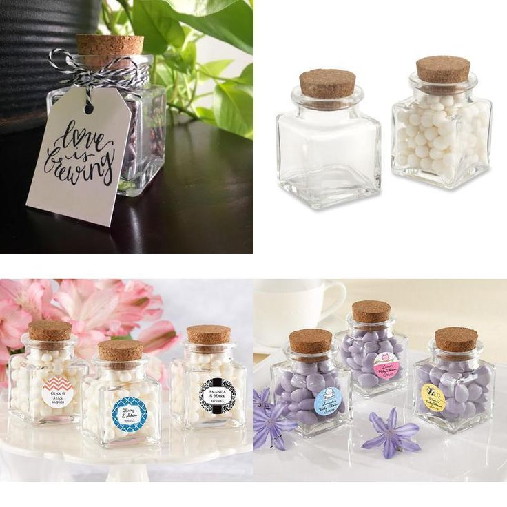 ICYMI: Cork Top Square Glass Jars Wide Opening Petite Favor Gift Jar Set of 12 Clear