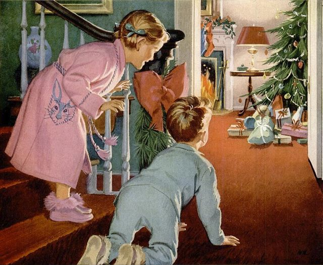 That unmatched moment of childhood joy when you tiptoed downstairs and realized that Santa had somehow come and gone while you were asleep. Christmas 1950s