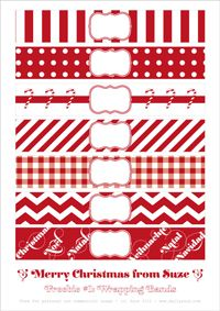 Printable christmas bands-  Could use the gingham check, strip, and polka dot ones on anything throughout the year.