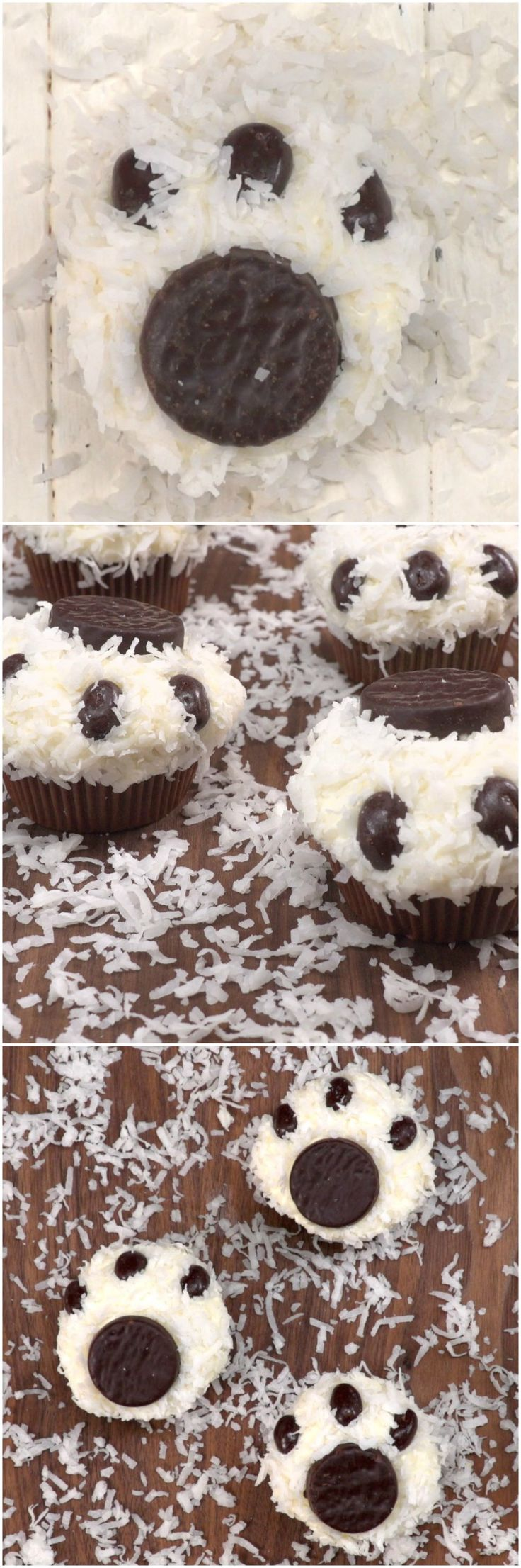 Cute Winter Cupcakes - Fun Polar Bear Paw Cupcakes will put smiles on kids faces.