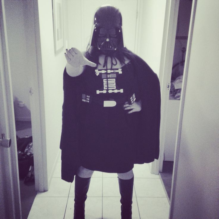 My darth Vader costume. Bought the helmet+light saber, boots and a dress. Made the chest plate and belt myself. Mum made the Cape