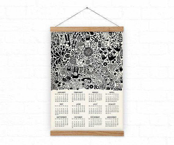 Wall calendar 2016 - Home decor - DOODLE - A3, A3+ size - 100% recycled paper/ eco friendly home decor