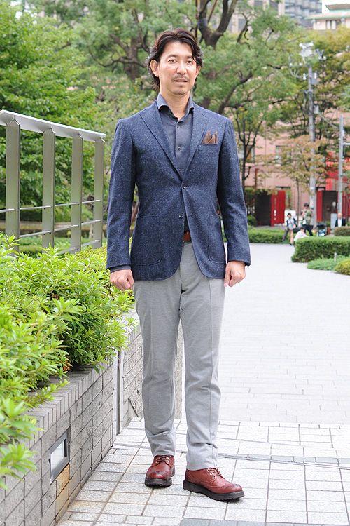 シャツの着こなし・コーディネート│ozie ジャージコットンのフランネル ホリゾンタルカラーシャツ+ホームスパンのジャケット+リネンのポケットチーフ+ジャージー素材のパンツ+ブラウンのレースアップブーツ