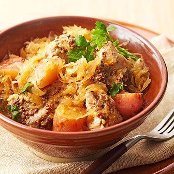 SLOW COOKER Bavarian Pork Dinner, (Kraut and Pork) (I'd leave potatoes out & serve with cauliflower mash)