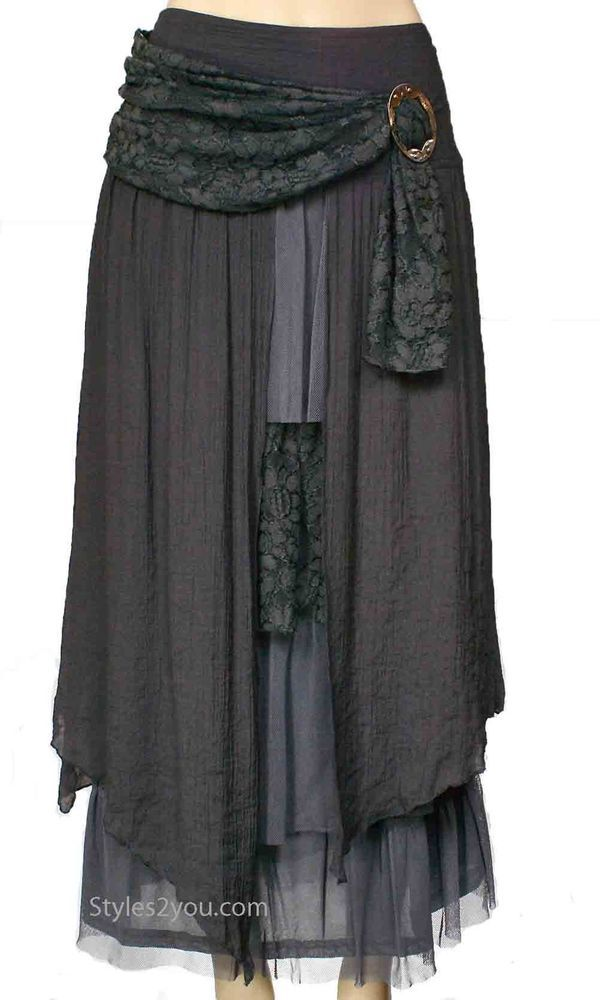 Pretty Angel Clothing Antique Belted Skirt In Gray - so my style! Love this