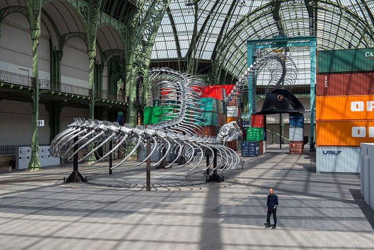 huang yong ping snakes 250 meter skeletal serpent through paris' grand palais