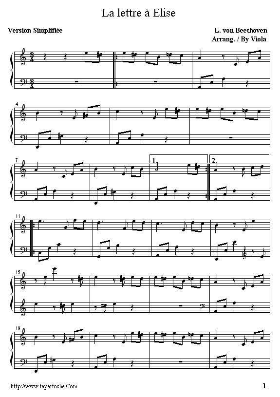 Lettre A Elise Partition Piano Facile Elise Facile