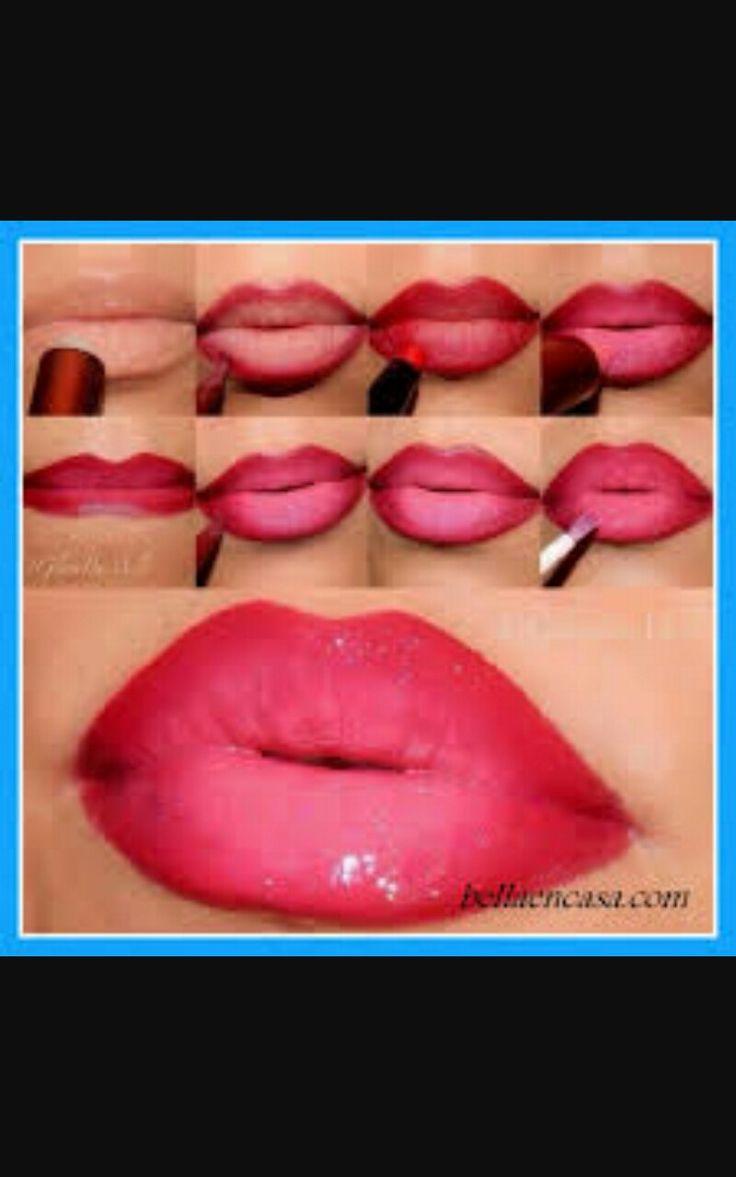 pintado de labios matizando colores con un acabado ...hermoso..
