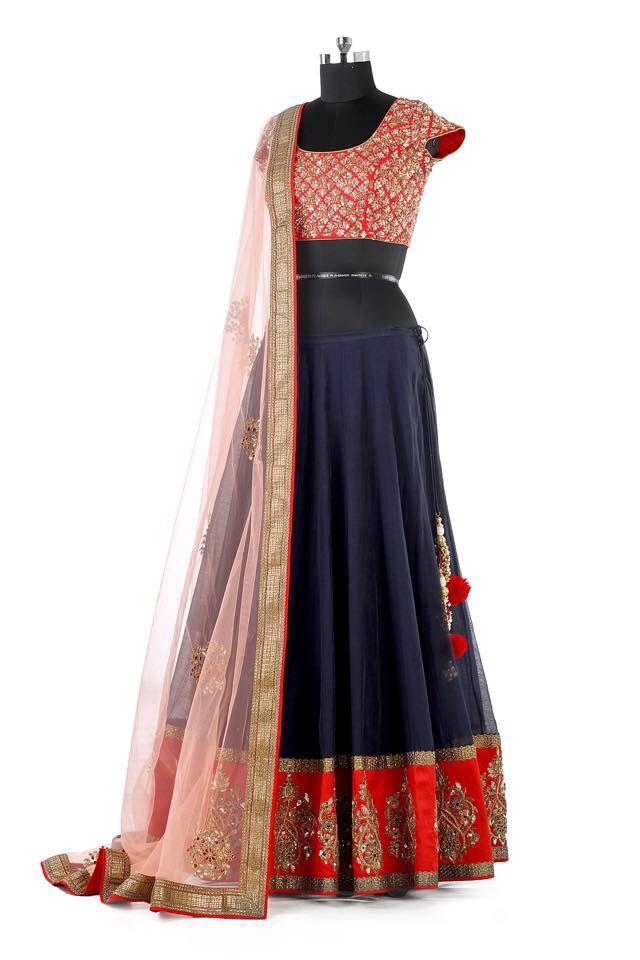 Dark blue and red lehenga- #Mrunalini Rao collections