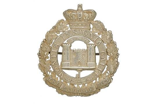 Badge. Suffolk Regiment post 1881 Victorian Officer's pagri badge. A fine and scarce die-stamped