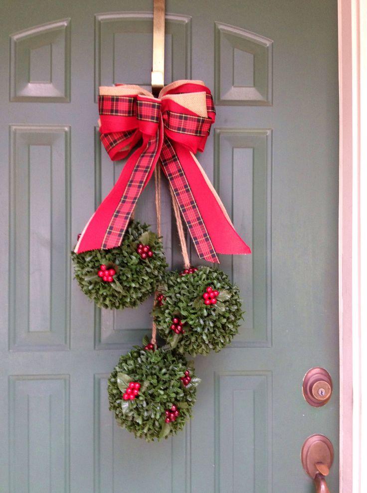 Christmas ornaments of greenery--cute Door Swag for back door