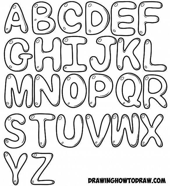 How to Draw Bubble Letters in Simple Steps : Step by Step Drawing Tutorial for Kids