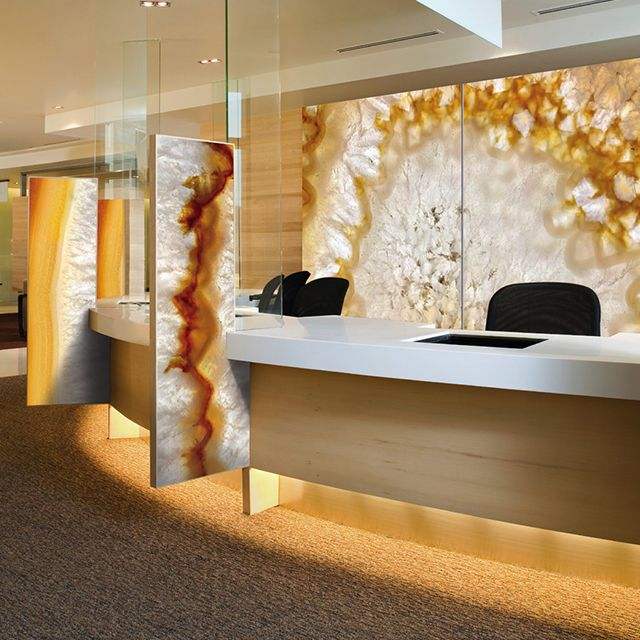 Backlit Wall In ViviSpectra Zoom Glass With Agate II Interlayer; Also  Shown, Accent Panels