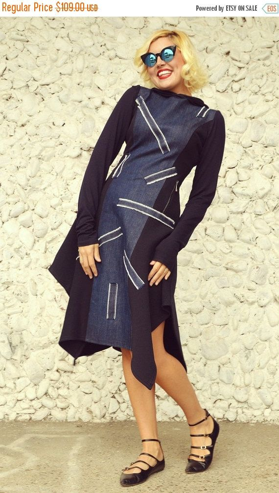 ON SALE 25% OFF Extravagant Navy Dress with Denim Inset / by Teyxo