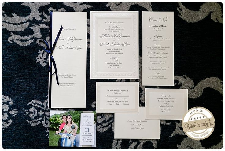 Simple and elegant wedding #invitations. I love the blue satin ribbon and the photograph save the date. Ph Chantel Giongco http://www.brideinitaly.com/2013/10/chantel-giongco-italians.html #italianstyle